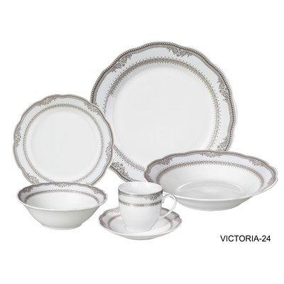 Lorren Home Trends Victoria 24 Piece Porcelain Dinnerware Set