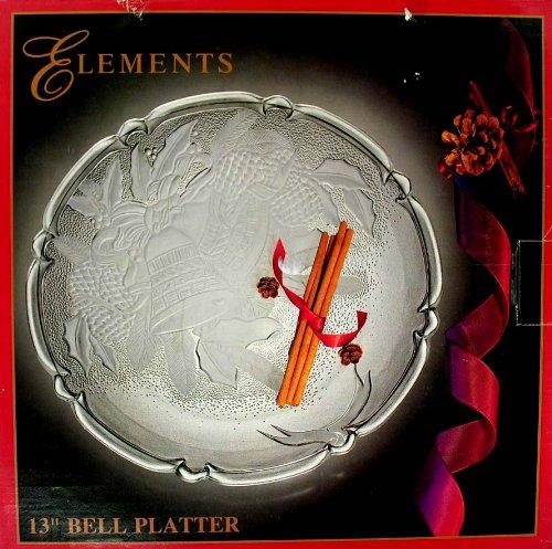 Elements 13 Glass Serving Platter Christmas Bell Servware