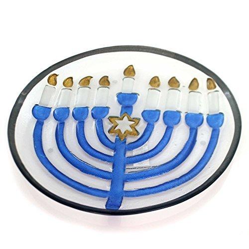 Tabletop Jewish Menorah 13 Glass Serving Platter by Lori Siebert by Demdaco