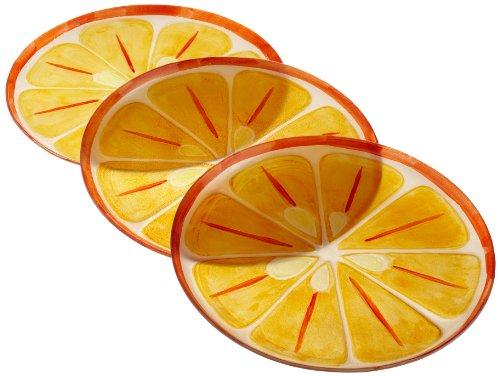 DII Citrus Slices Glass Serving Plates Set of 3