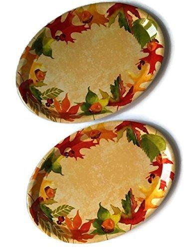 Fall Platter Bundle Thanksgiving Harvest Plastic Holiday Serving Plates Set 2 by Greenbrier