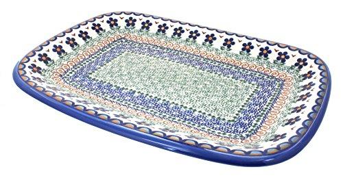 Polish Pottery Aztec Flower Large Rectangular Serving Platter