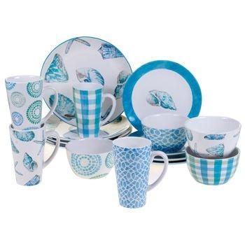 Certified International Sea Finds 16-piece 100 Ceramic Dinnerware Set