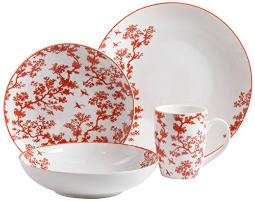 Florence Broadhurst The Cranes 4-Piece WhiteGlazeFine Ceramic Dinnerware Set Coral