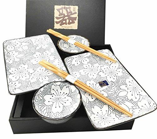 Japanese Design Rose Blossom Black Motif Ceramic Sushi Dinnerware Set For Two Plates Sauce Bowls and Chopsticks