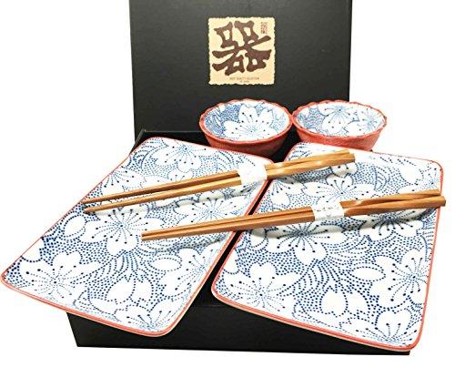 Japanese Design Rose Blossom Blue Motif Ceramic Sushi Dinnerware Set For Two Plates Sauce Bowls and Chopsticks
