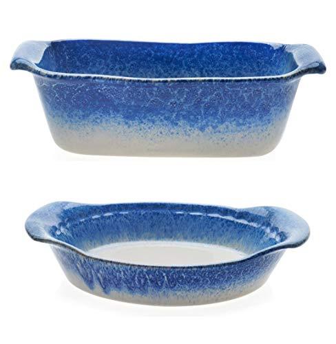 Libbey Artisan Glazed Ceramic Stoneware Loaf Bake Dish Bundled with Pie Baker Dish Serving Plate Blue and Cream