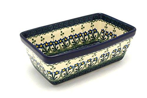 Polish Pottery Baker - Loaf Dish - Blue Spring Daisy