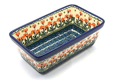 Polish Pottery Baker - Loaf Dish - Peach Spring Daisy