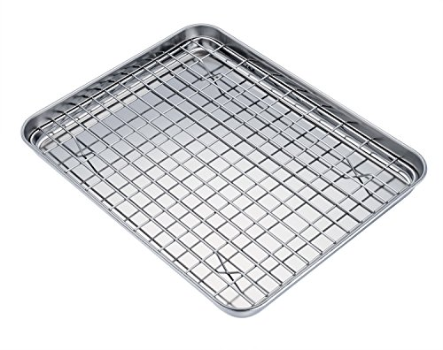 TeamFar Pure Stainless Steel Sheet Pan and Rack Set Cookie Sheet Baking Tray with Cooling Rack Non-toxic Healthy Dishwasher Safe