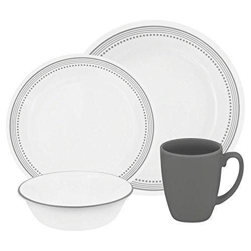 Corelle Livingware 16-Piece Dinnerware Set Mystic Gray Service for 4