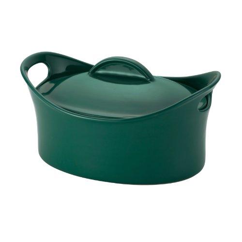 Rachael Ray Stoneware 4-14-Quart Casseroval Covered Baking Dish Dark Green