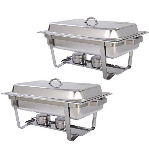 Gracelove New 2 Pack of 9 Quart Stainless Steel Rectangular Chafing Dish Full Size