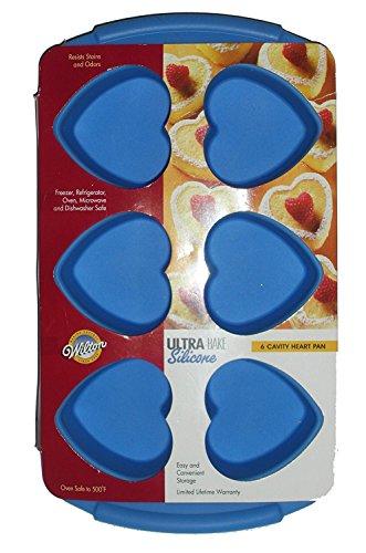 Wilton Ultra-Bake Silicone 6 Cavity Heart Pan