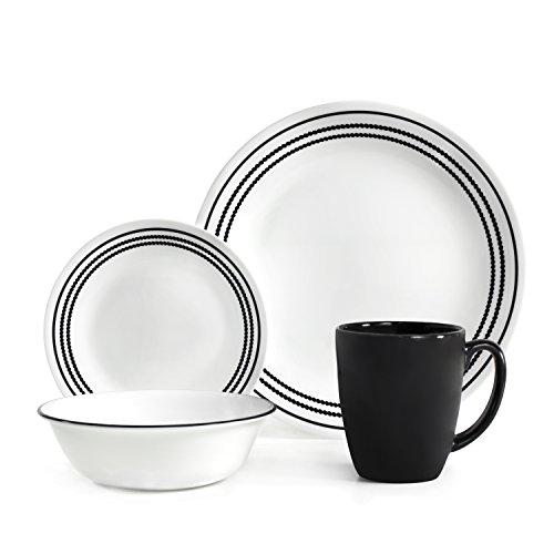 Corelle Livingware 16-Piece Dinnerware Set Onyx Black Service for 4