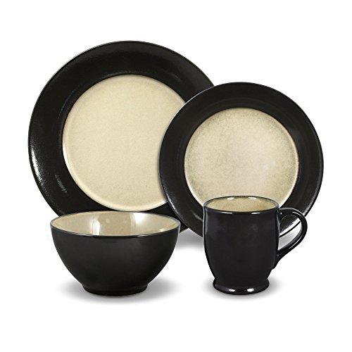 Gourmet Basics Belmont Round Black 32 Piece Dinnerware Set Service for 8