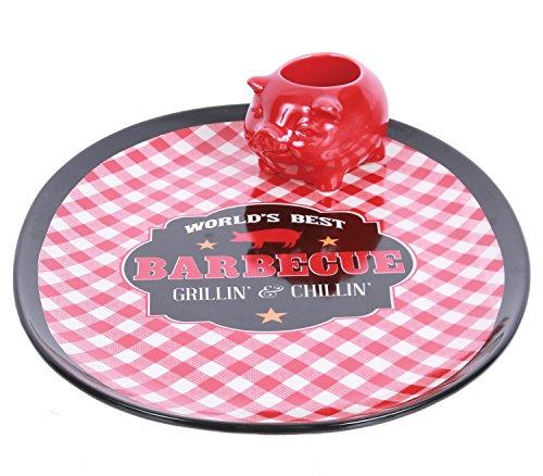 2 Piece Ceramic Platter and Pig Toothpick Holder Set