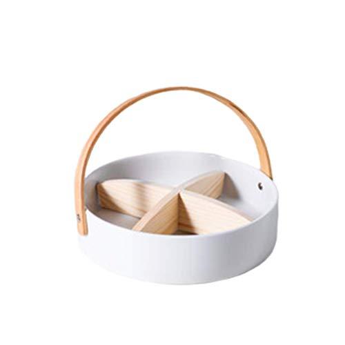 Ceramic Platter Tray with Wood Handle Divided Fruit Appetizer Serving Platter Bowl for Home Office Décor Serving Fruit or Dessert