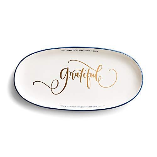 Dayspring Grateful Ceramic Serving Platter 14-Inch
