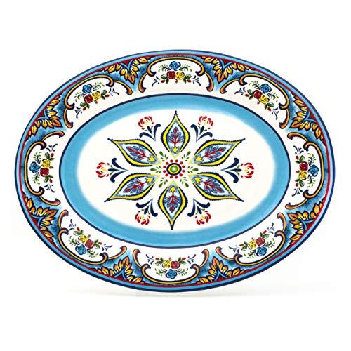 EuroCeramica YS-ZB-1014 Zanzibar Oval Platter Lightweight Durable Servingware 18-Inch Spanish Floral Design Fall Decor Multicolor Blue
