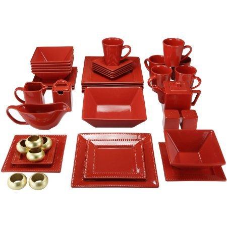 10 Strawberry Street Nova Beaded Square 45-Piece Dinnerware Set - Red