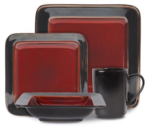 Gibson 16 Piece Astro Galleria Red Dinnerware Set Service For 4