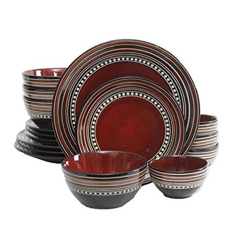 Gibson Elite Caf� Versailles 16-piece Double Bowl Red Dinnerware Set