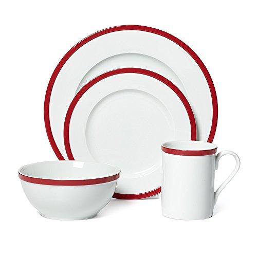Guy Fieri 16-Piece Bistro Dinnerware Set Red Service for 4