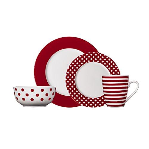 Pfaltzgraff Kenna Red 16-Piece Dinnerware Set Service for 4
