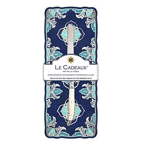 Le Cadeaux Havana Melamine Baguette Tray and Laguiole Bread Knife Gift Set Blue