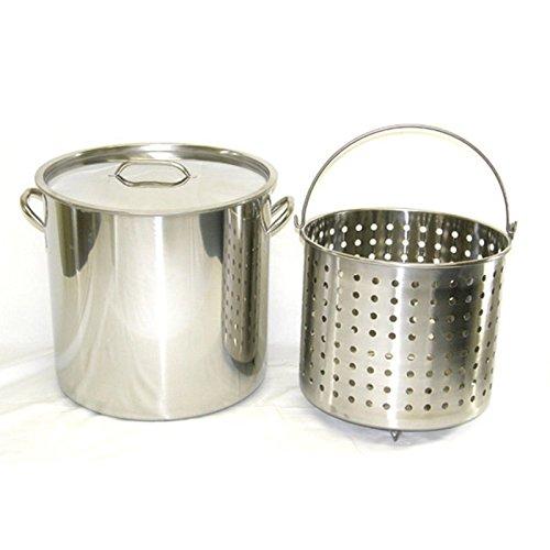 Ballington 13-Gal 16 Stainless Steel Stock Pot w Deep SteamerBoil Basket Lid