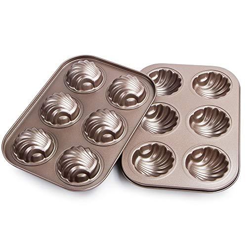 Webake Non-stick Madeleine Pans Carbon Steel Cake Pan French Dessert Mold Spherical Scallop Madeline Bakeware 2 Pack Set