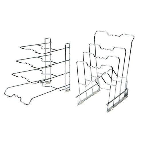 Seville Classics 4-Tier Pan Organizer Rack Chrome 2-Pack