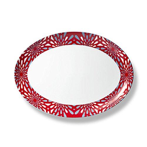 B by Brandie PLPR2713 Frazier Porcelain Platter 13 RedGray