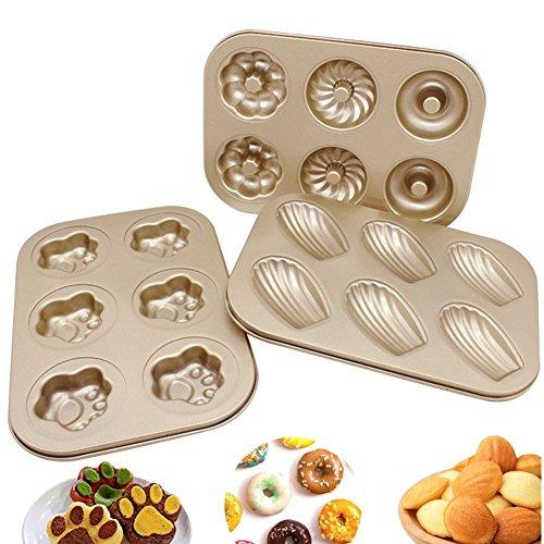 Upintek Nonstick 6-Cavity Mini Donut Pan Carbon Steel Multi-shape Cake Baking Pan Madeleine Pan Paw Print Pan for Mini Cake Making 3Packs
