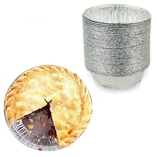 4 Round TartSmall Pie Tin Foil Pans - Freezer Oven Safe Disposable Aluminum - For Baking Cooking Storage Reheating - Pack of 50