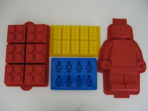 Lego Minifigure Cake mold Lego Brick Cake Lego Brick Ice Tray and Lego Minifigure Ice Tray Set of all 4 molds