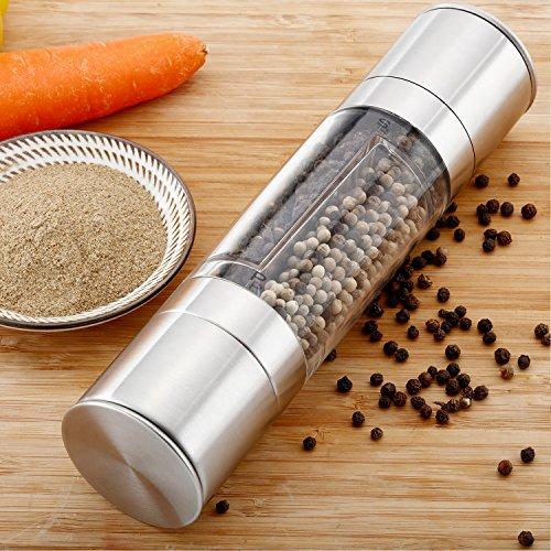 iYaYoo Stainless Steel Manual Salt Pepper Grinder Double Head Design with Ceramic Grinder Core Dual Adjustable Coarseness ShakersMills