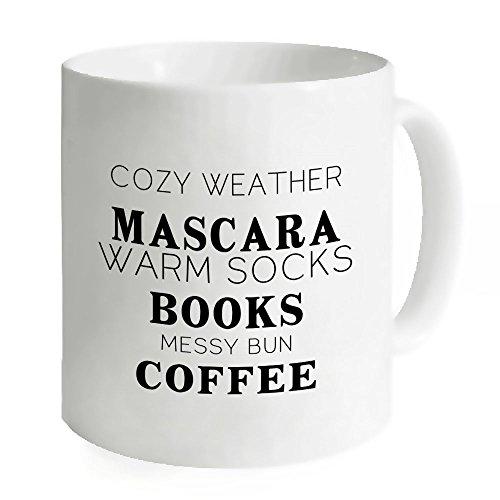 AnnaStoree Funny Coffee Mug Sayings COZY WEATHER MASCARA WARM SOCKS BOOKS MESSY BUN COFFEE Ceramic Mug 11-Ounce White