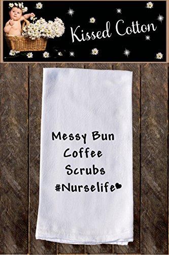Messy bun coffee scrubs nurselife Funny Dish Towels  Funny Tea Towels  Flour Sack Towel Kitchen Decore Custom Tea Towel Kitchen Dishcloth  Dishtowel Dish Towel KC000217