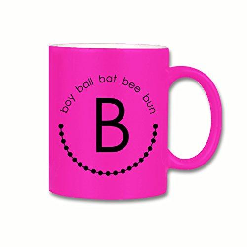 Style In Print Alphabet B Boy Ball Bat Bee Bun Coffee Tea Ceramic Neon Mug Pink