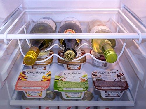 SorbusFridge Wine Rack- Refrigerator Bottle Rack Holds 3 Bottles of Your Favorite Wine or Drink Universal Bottle Holder Will Fit Most Fridges