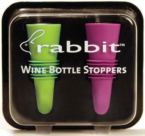 Metrokane 6119 Rabbit Wine Bottle Stoppers 2-Pack in Multi-Color Colors Selected Randomly