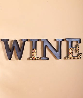 Personalized Letter H Metal Wall Wine Cork Holder - Monogram Wall Art