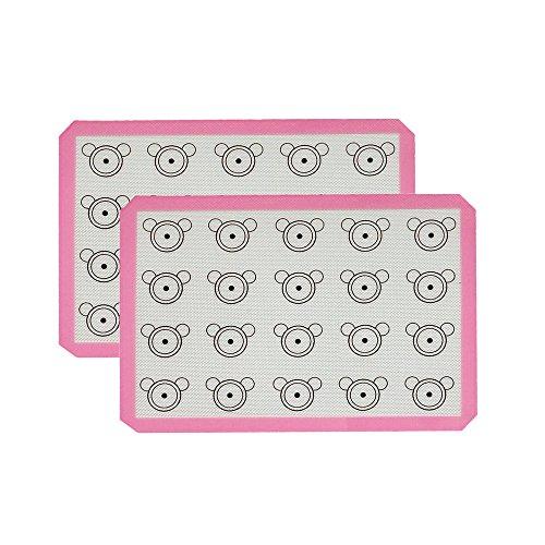 Inchant Macarons Silicone Baking Mat - Set of 2 Half Sheet Cooking Mat Liner Thick Large 11 58 x 16 12 - Non-Stick Food Grade Silicone Cooking Mats for MacaronPastryCookieBunBread Making