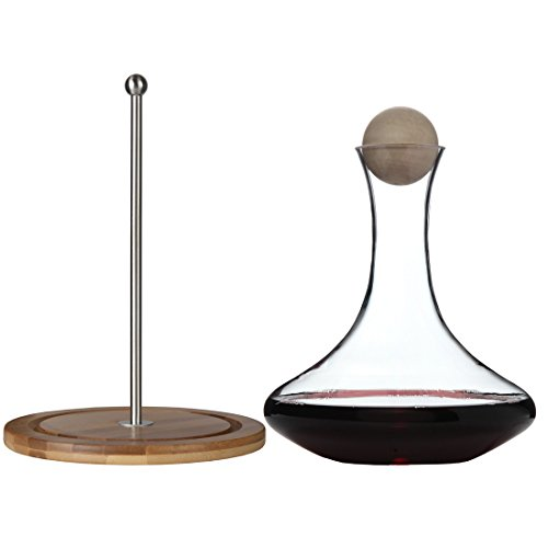Classic Glass Wine Decanter with Wooden Ball Stopper and Decanter Dryer Stand By Lilys Home