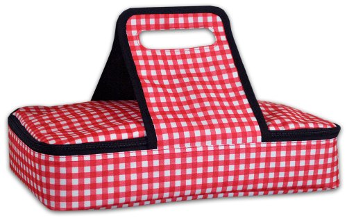 DII Checker Insulated Casserole Carrier 10x16x3 Perfect for Holidays BBQs Potlucks Parties To Go Lunches CraftDish Storage Monogramming-RedWhite