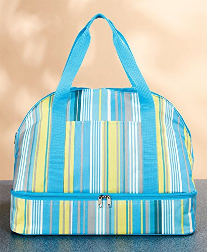 HotCold Casserole Carrier Blue Stripes