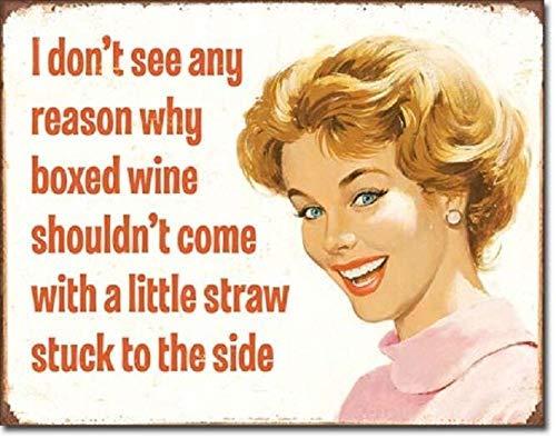 BinLtd Ephemera Boxed Wine Little Straw Funny Humor Bar Wall Decor Metal Tin Sign 8x12in New