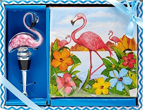 LS Arts Hostess Gift Boxed Wine Stopper and Napkin Set Flamingo